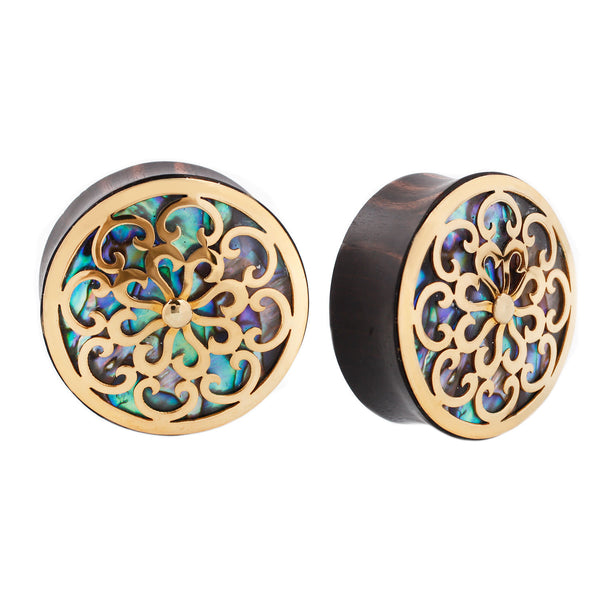 Plugs with abalone inlay and plated yellow gold