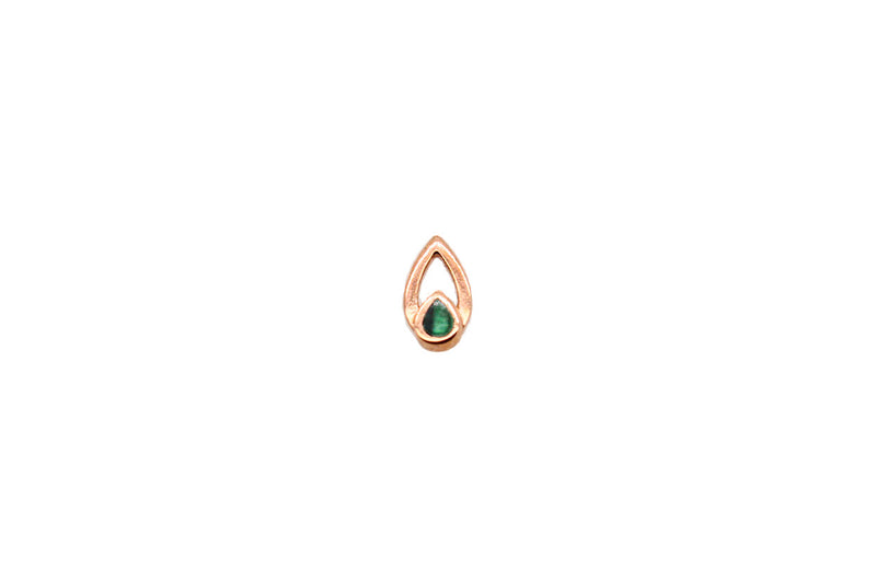 pear cut rose gold malachite threadless end