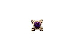 Yellow gold mini kandy with Amethyst and beaded detailing