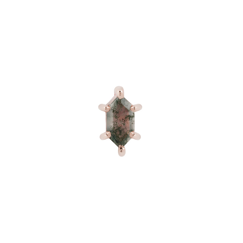 Rose gold moss agate stud