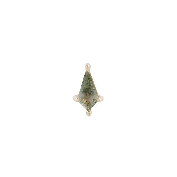 Yellow gold kite cut moss agate stud