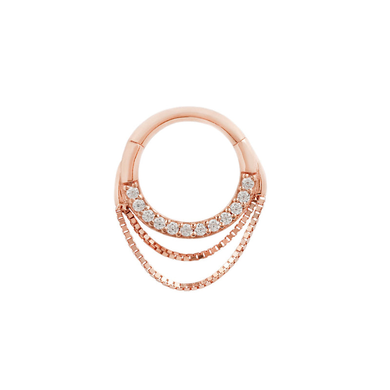 Rose gold ring with chains and diamonds