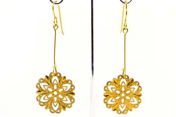 Handmade Mandala Earring Plated Yellow Gold 18g