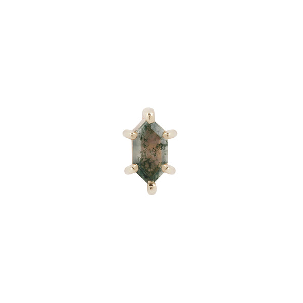 Yellow gold moss agate stud