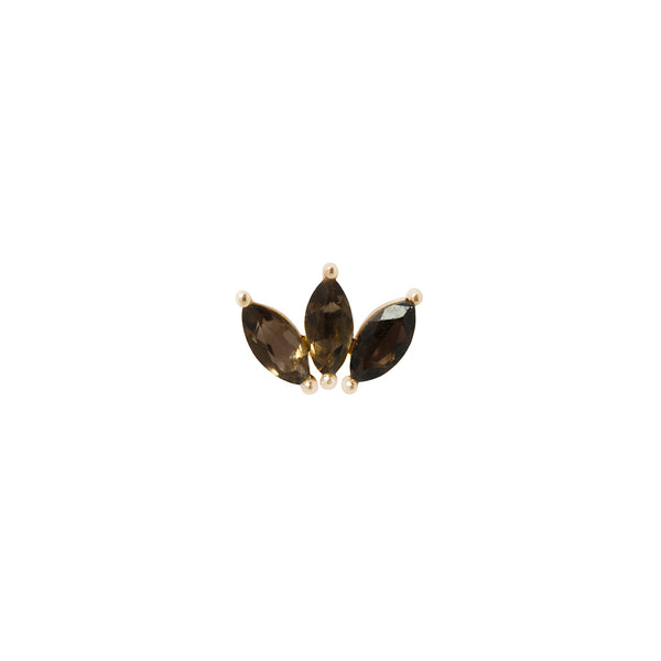 Yellow gold marquise fan piece by Buddha Jewelry in Smoky Quartz