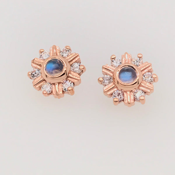 BVLA Threaded Toltec Rainbow Moonstone w/ CZ Rose Gold