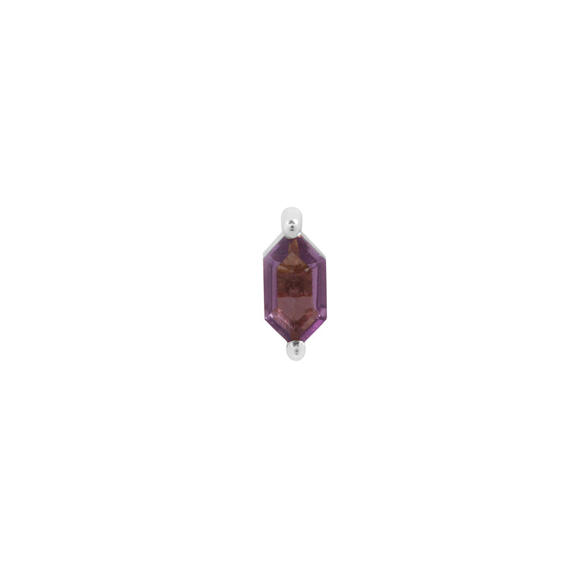 White gold amethyst stud with 2 prongs