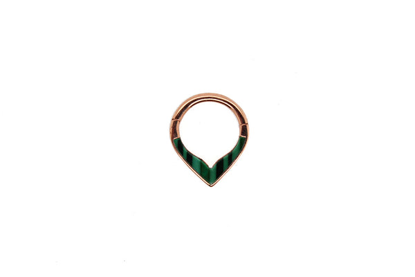 rose gold malachite clicker ring