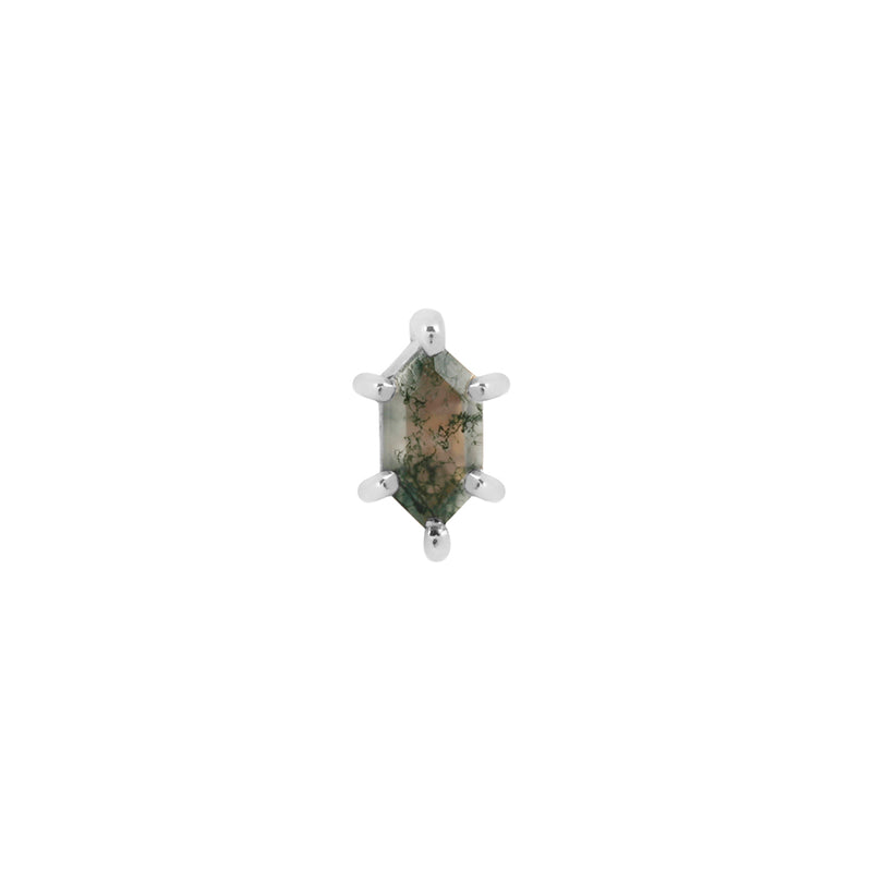 White gold moss agate stud