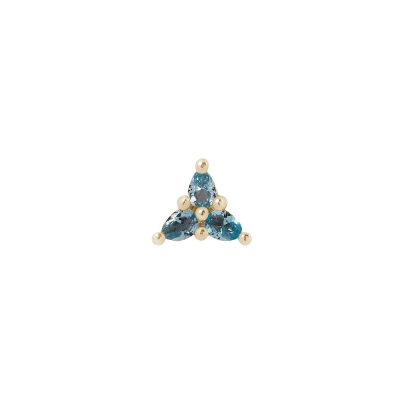 Yellow gold pear cut London Blue Topaz cluster
