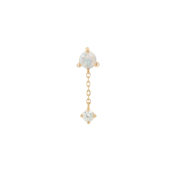 Yellow gold Bianca end with blue moonstone and white sapphire by Buddha Jewelry