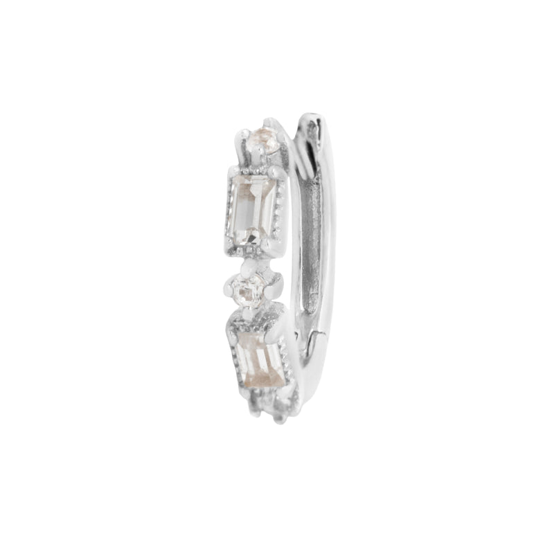 White gold Euphoria huggie clicker with white sapphires by Buddha Jewelry