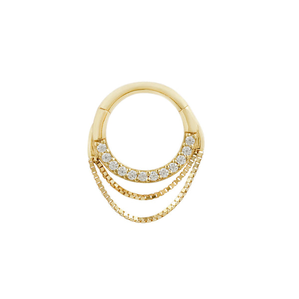 Yellow gold ring with chains and diamonds