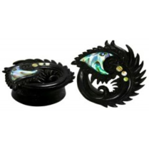 Wood Peacock Style Plugs with an Abalone inlay