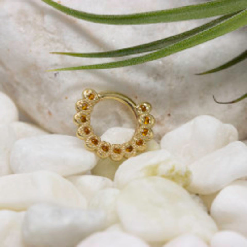 Yellow Gold Piercing Ring with Citrine