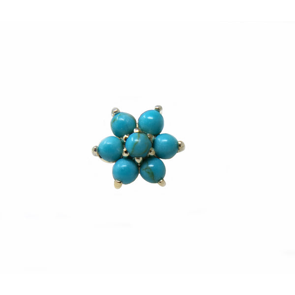 Anatometal Threadless Cabochon Flower Turquoise with Turquoise Petals Yellow Gold 2.0 mm