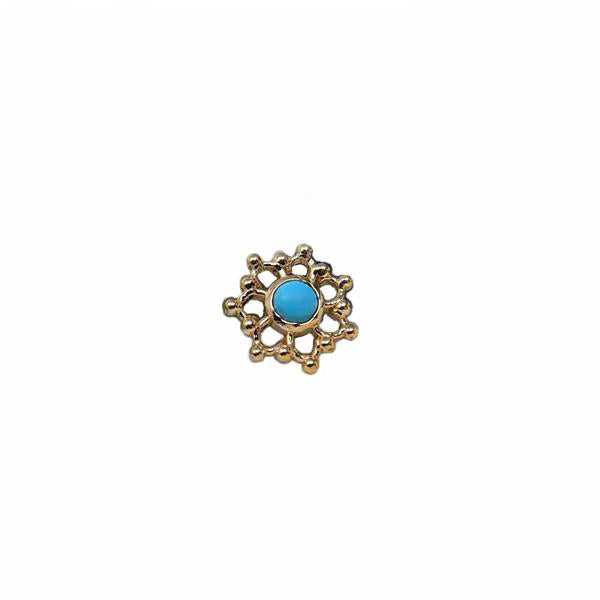 Alchemy Threadless Krystal Turquoise Yellow Gold 3.0 mm