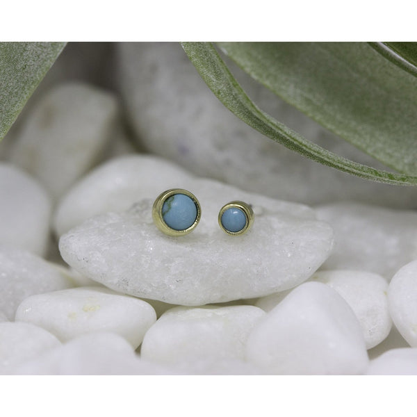 Anatometal Threadless Bezel Cabochon Turquoise Yellow Gold
