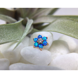 Anatometal Threadless Cabochon Flower CZ with Blue Opal Petals Rose Gold 2.0 mm