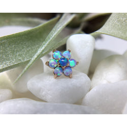 Anatometal Threadless Cabochon Flower Light Blue Opal with Light Blue Opal Petals Rose Gold 2.0 mm