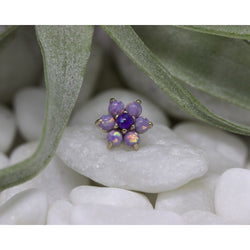 Anatometal Threadless Cabochon Flower Purple Opal with Light Purple Petals Rose Gold 2.0 mm