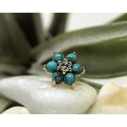 Anatometal Threadless Flower CZ with Turquoise Petals Yellow Gold 2.0 mm