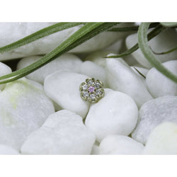 Anatometal Threadless Flower Round Pink Center CZ Outer White Gold 1.25 mm