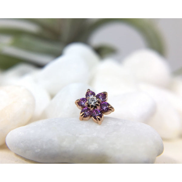 Anatometal Threadless Gem Flower CZ with Amethyst Petals Rose Gold 1.5 mm