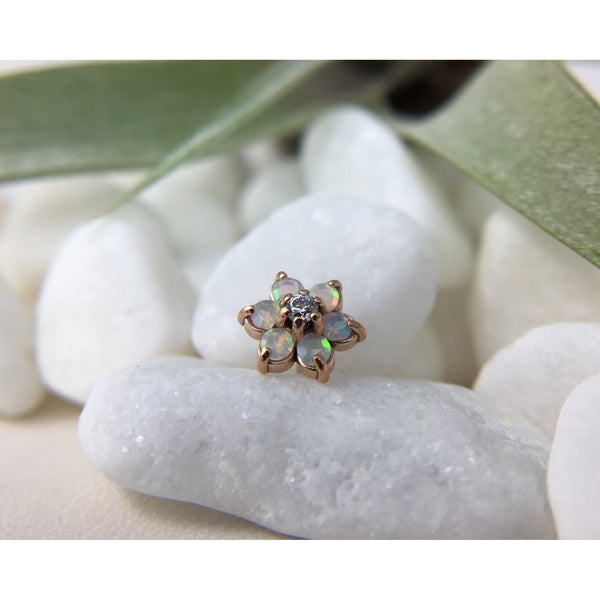 Anatometal Threadless Gem Flower CZ with White Opal Petals Rose Gold 1.5 mm