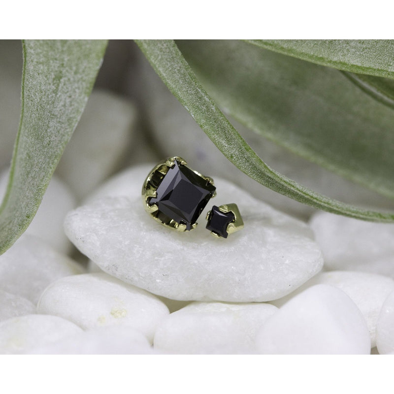 Anatometal Threadless Prong Princess Cut Gem Black CZ