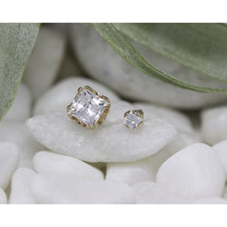 Anatometal Threadless Prong Princess Cut Gem CZ