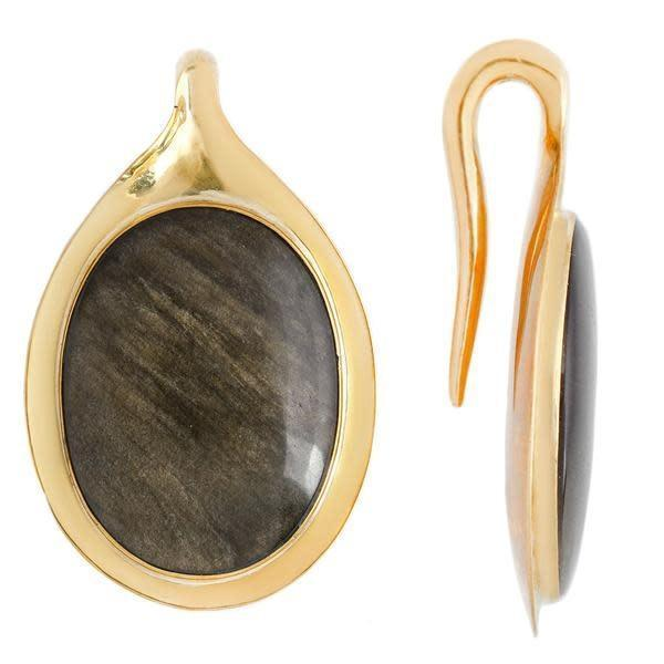 Golden Obsidian Earring for Stretched Ears