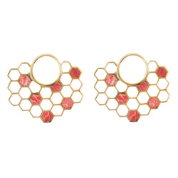 Coral bee hive Earrings for stretched ears