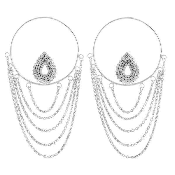 silver hoop earrings with chains