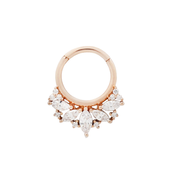 Rose gold CZ clicker ring