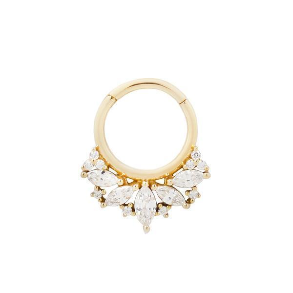 Yellow gold CZ clicker ring