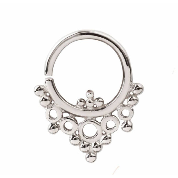 White Gold Seamless Ring for Piercings