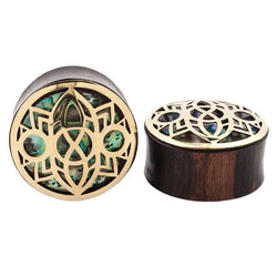 Wood Plugs with Abalone inlay for Stretched Ears