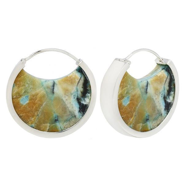 Blue Opalized Petrified Wood Earrings