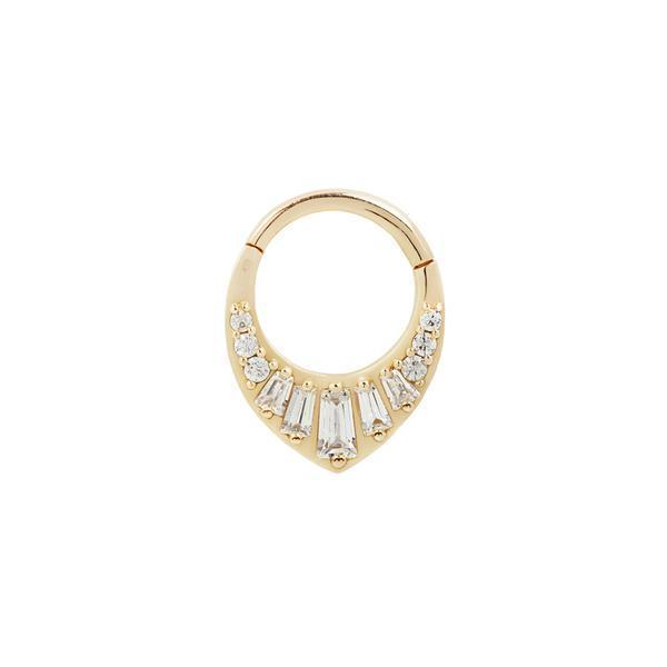 Yellow gold baguette CZ clicker