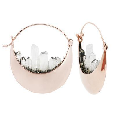 Buddha Rapture Earring Crystal Quartz Plated Rose Gold 16g
