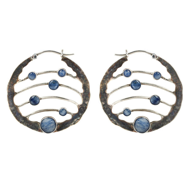 Buddha Ritual Blue Kyanite White Brass Earring 14g