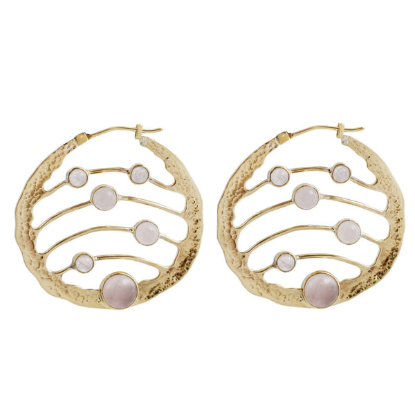 Textured Brass Hoop Earrings