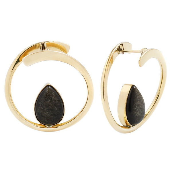 Buddha Stay Sexy Golden Obsidian Brass Earring 16g Small