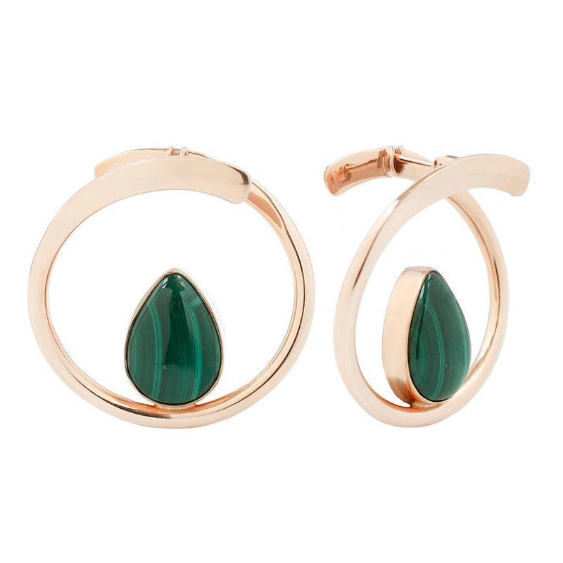 Malachite Hoop Earrings