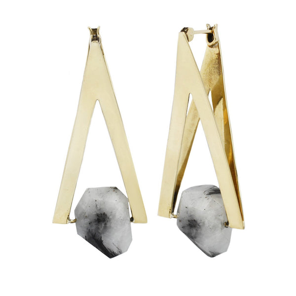Tourmalted Quartz Earring