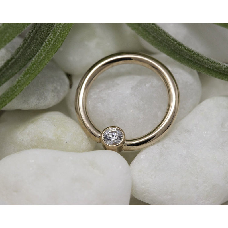 BVLA Bezel Fixed Ring CZ Rose Gold 16g