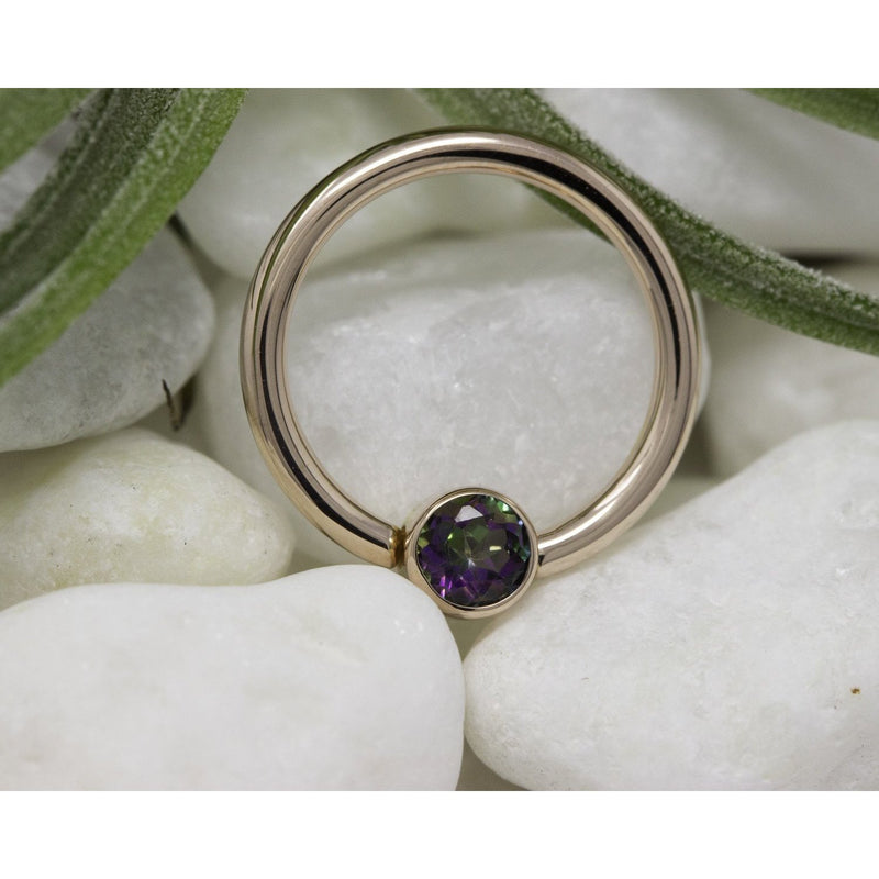 "BVLA Bezel Fixed Ring Mystic Topaz Rose Gold 16g 3/8"" 3.0 mm"