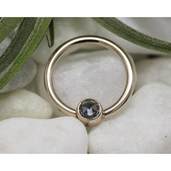 "BVLA Bezel Fixed Ring Rose Cut Grey Sapphire Rose Gold 16g 3/8"" 3.0 mm"