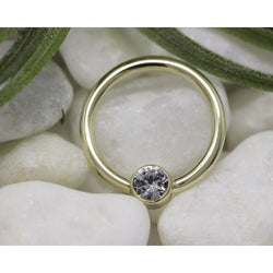 BVLA Bezel Fixed Ring White Sapphire AA Yellow Gold 16g 3/8'' 3.0 mm